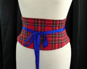 Tartan Belt / Royal Stewart Tartan Wool Plaid Corset / Red and Blue Waist Cincher / Obi Belt / Wedding Corset / Plaid Belt / Steel Boned