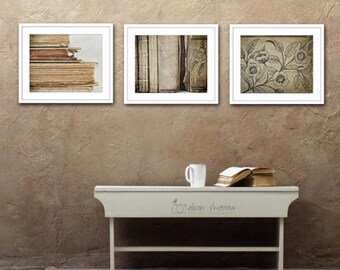 Book Photographs, Large Wall Art, Neutral Farmhouse Decor, Rustic Library Art, Set of 3