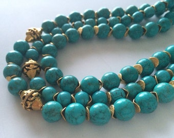 Layered in Turquoise 3 Strand Necklace
