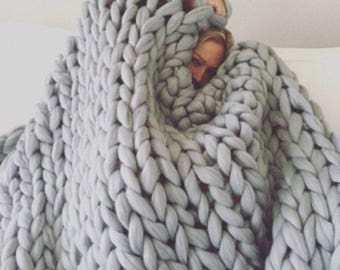 Chunky blanket Merino wool blanket Chunky knit blanket Knit blanket Arm knit blanket Wool blanket Merino throw Home decor Mother's day gift