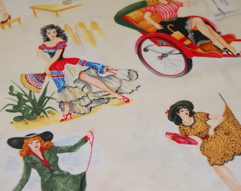 Pin Up Girls by Exclusively Quilters - CT114185 100 Percent Quality Cotton by the Yard