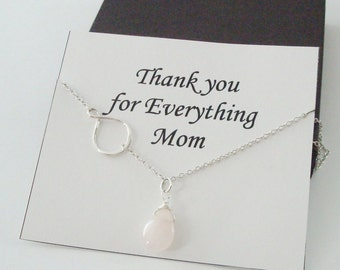 Eternity Infinity Charm with Rose Quartz Silver Necklace ~~Personalized Gift Card for Mom, Mother in Law, Mother of Groom, or Step Mom