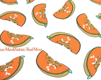 Slices of cantelope vintage fabric-by the 1/2 yd~melons~food~vegetables~cantelopes-summer fruit