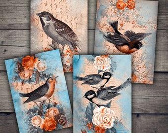 Birds & Flowers Digital Paper - Instant Download Printables