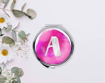 Monogram compact mirror, Pink watercolor mirror, Initial pocket mirror, Personalized Bridesmaids gift, Romantic gifts for women, CMin001-1