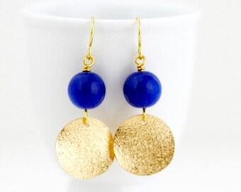 Gift For Women - Royal Blue Earrings - Gold Earrings - Geometric Earrings - Dangle Earrings - Electric Blue - Beaded Earrings - Gift For Her