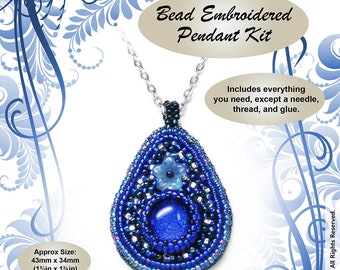 "Bead Embroidered Pendant ""Midnight Blue"" BEAD KIT - Suitable complete beginners"