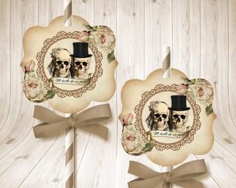 Skull Bride & Groom Straw Toppers - Gothic Wedding Decorations - Halloween Wedding - Wedding Drink Toppers - Skull Straw Toppers