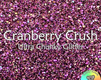 Cranberry Crush Chunky Glitter Fabric A4 Or A5 Sheets Faux Leather For Bows & Crafts