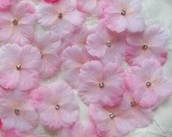 18 pc Rhinestone Beaded Flower Applique Pink Baby Hydrangea Petal Bow Bridal Accessory