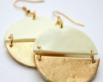 Yellow earrings, Gold earrings, Round dangle earrings, Girlfriend gift, Statement earrings, Geometric earrings, Polymer clay earrings