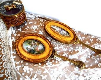 Dresser Set Heavy Brass Victorian Art Nouveau Barbola Design Beveled Mirror French Love Stories in Frames Red Velveteen Interior Antiques