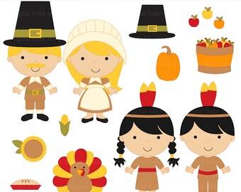 thanksgiving clipart clip art kids children - Thanksgiving Kids Digital Clip Art - BUY 2 GET 2 FREE