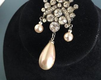 Vintage Brooch Pin Faux Pearl Teardrop & Paste in Art Deco Style