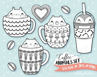 Coffee Animals Digital Stamps Set, Vector Digi Stamps, DIY Planner Stickers, Cappuccino Art, Iced Coffee, Commercial Use Graphics, Penguin