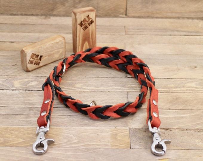 Braided leash, Leather dog leash, Pet gift, Distressed leather leash, Matching leather leash, Dog walks, Raven leash, Dog lead, Pet gift.
