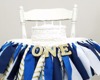 Blue & Gold Highchair Banner - Boy's Birthday Party - Prince Birthday - Rag Banner - Photography Prop - Little Prince Party