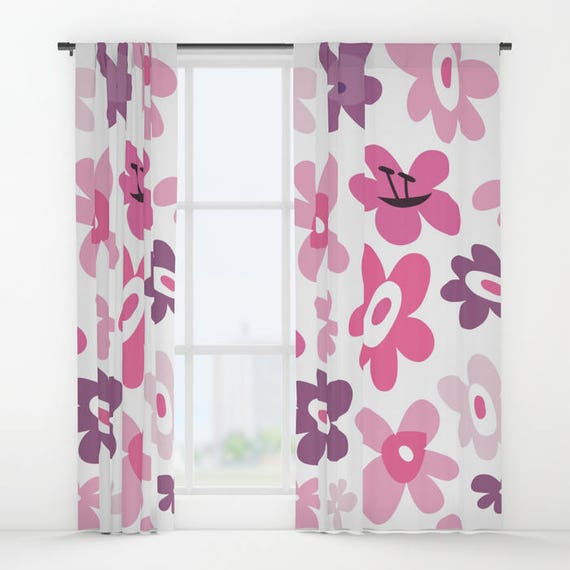 Pink flowers curtains pink window curtains flower window mightylinksfo
