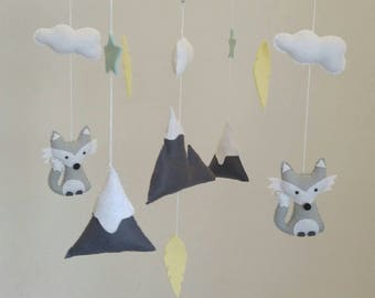 Grey Foxes,mint stars,  mountains and feathers nursery mobile, fox baby mobile,  woodland nursery mobile, neutral baby mobile