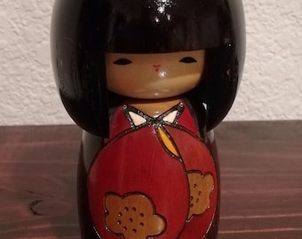 Vintage | Hand Crafted | Hand Painted | Japanese | Kokeshi | Doll | Kimono | Geisha Girl | by Woody Craft