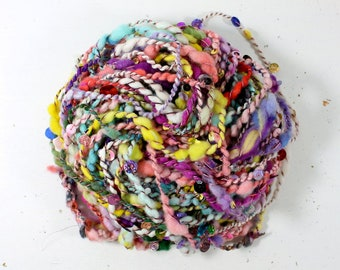 candy crush    .. hand spun yarn, art yarn, handspun art yarn, wool yarn, boucle yarn, bulky yarn, handspun wool yarn