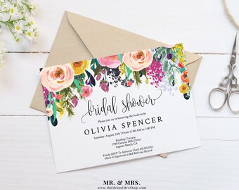 Editable floral retirement party invitation template editable watercolor floral bridal shower invitation template printable diy instant digital download invite flower stopboris Image collections