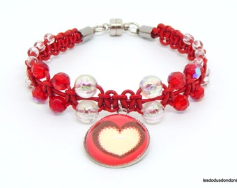 Red leather, beads, heart charm bracelet