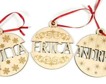 """Custom Name Ornament - Personalized Christmas Ornament - Custom Ornament Ball - 3"""" Wooden Ornament Ball - Made to Order"""