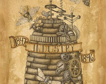 Limited Edition  Utah State Beehive Steampunk Print
