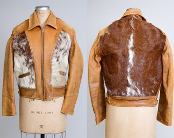 1940s Cowpunch Pony Hair Motorcycle Leather Grizzly Jacket