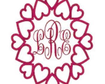 Monogram Flipped Heart Frame,Valentine's Day Embroidery Design,Monogram Frames,Hearts,Embroidery Heart Frames,Valentines Day Designs
