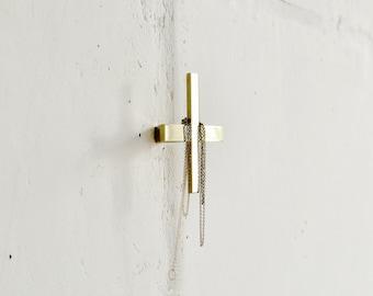 "Modern Brass Wall Hook ""PLUS"" / Simple Brass Drawer Knob ""PLUS"" / Brass Furniture Knob / Handles / Jewelry Hanger."