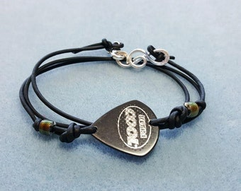 Guitar Pick Bracelet - Guitar Pick Jewelry - Guitar Pick Fashion Accessory - Leather and Guitar Pick