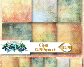CU Commercial Use Background Papers set of 6 for Digital Scrapbooking or Craft projects C SPOTS Designer Stock Papers