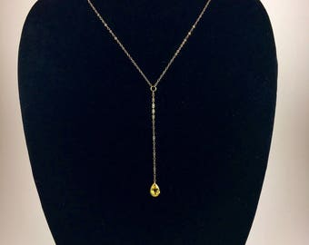 Vintage Crystal Lariat Necklace - Gold Filled Chain