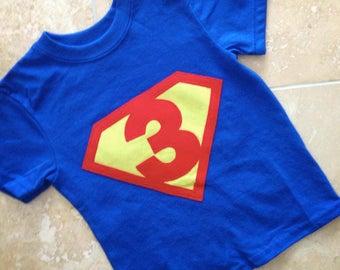 Superhero birthday shirt, Super hero party, third birthday shirt, boy birthday shirt, any age, shield, superhero shirt, boy birthday shirt