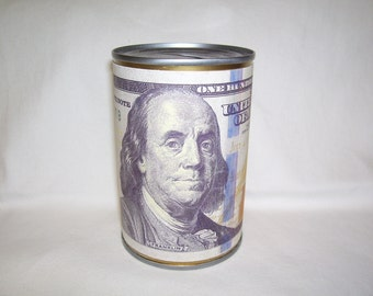 PIGGY BANK CAN  wrapped with a  printed depiction of a hundred dollar bill