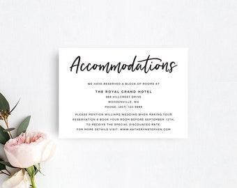 Accommodation Cards Etsy - Wedding invitation templates: hotel accommodations template for wedding invitations