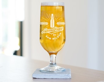 Personalized Homebrew Beer Glass, Made to order glass for him, Home Brew Beer Glass (ALL26) L2D1