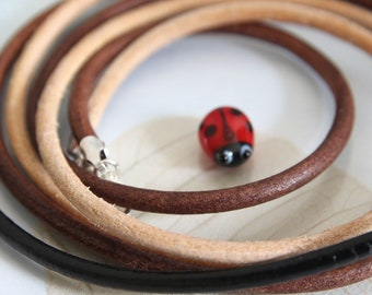 Round Leather Cord Necklace with Sterling Silver Clasp - 3 mm Leather Cord - Custom Length - Brown, Black or Natural | Leather Necklace Gift