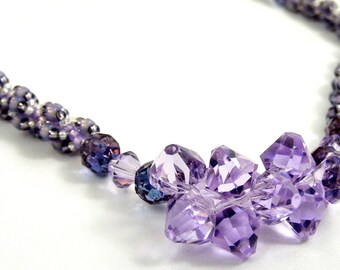 Purple Necklace, Crystal Necklace, Lilac Necklace, Lavender Necklace, Dainty Necklace Hand Woven Beaded Jewelry