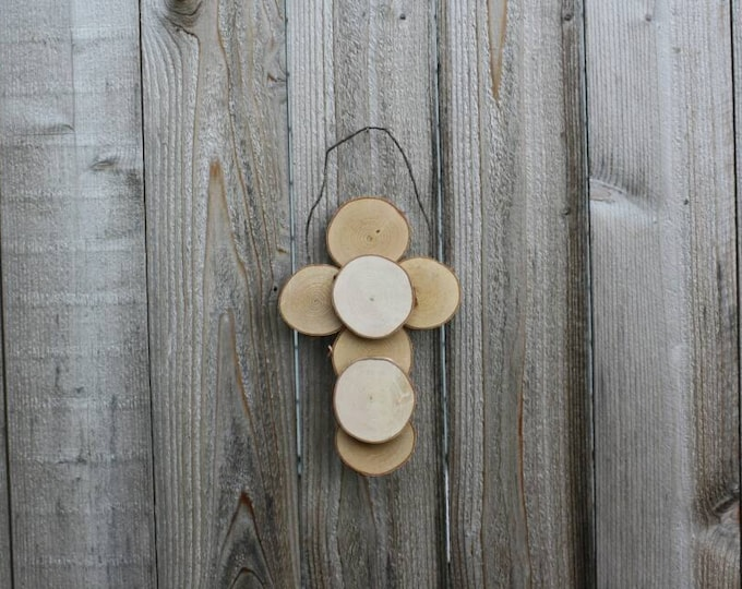 Rustic Cross - Log Slice Cross Ornament