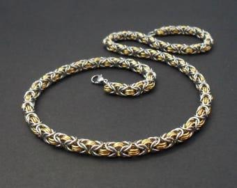 "316 Stainless Steel & Brass Triple Byzantine Chain Necklace 58cm / 23"" - Premium Quality Two Tone"