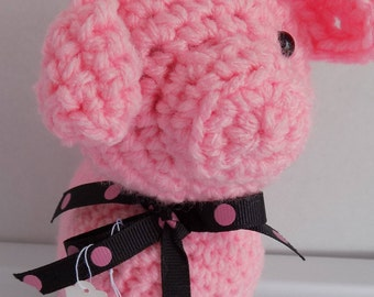 1814---Pink Piggy with black polka dot bow