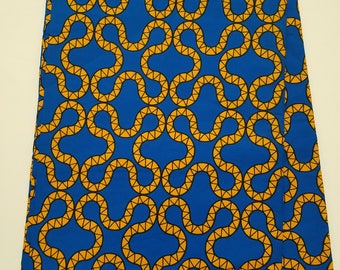 Blue & Yellow Multicolor African Fabric; Ankara Fabric; African Clothing; African Fabric in yard; African Headwrap; Fabric in yards