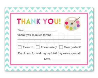 Printable Kids Art Party Birthday Party Fill in Blank Thank You Card INSTANT DOWNLOAD Digital File