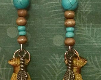 Feather and tassle earrings with turquoise