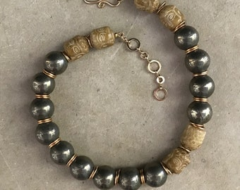 Beaded pyrite choker necklace, Buddha necklace, gift for her, wife gift