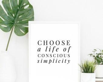 minimalist art print, simplicity art print, minimalist art, gallery wall art, minimalism, conscious simplicity, art print