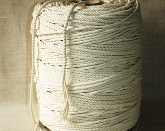 5 mm Cotton Rope = 1 Spool = 500 Meters = 546 Yards of Natural and Elegant 100 % COTTON TWISTED CORD - Semi White - Offwhite - Raw White